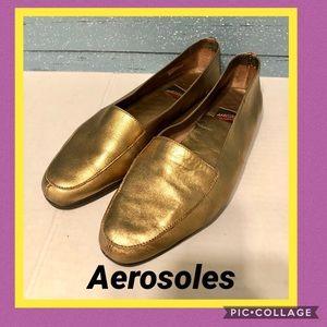 Aerosoles Gold Leather Flats